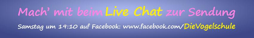Mach' mit beim Live Chat zur Sendung bei Facebook!